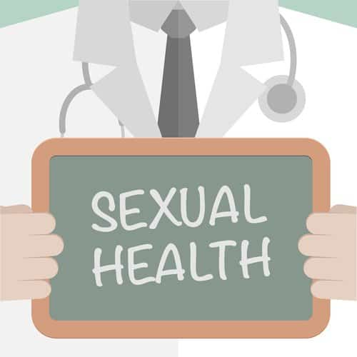minimalistic illustration of a doctor holding a blackboard with Sexual Health text, eps10 vector